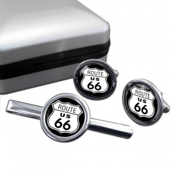 Route 66 Round Cufflink and Tie Clip Sert