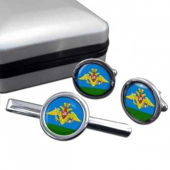 Russian Airborne Troops Round Cufflink and Tie Clip Set