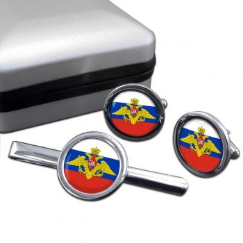 Russian Armed Forces Round Cufflink and Tie Clip Set