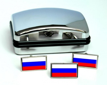 Russia Flag Cufflink and Tie Pin Set