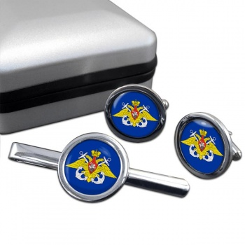 Russian Navy Round Cufflink and Tie Clip Set