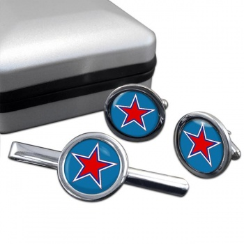 Russian Roundel Round Cufflink and Tie Clip Set