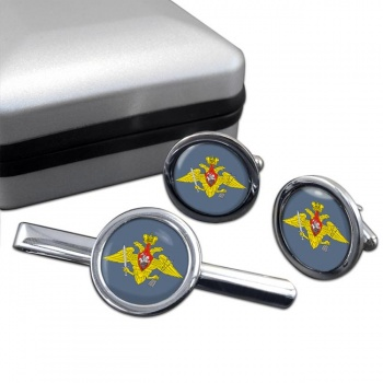 Strategic Missile Troops (Russian Army) Round Cufflink and Tie Clip Set