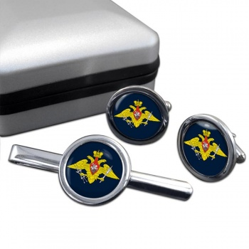 Russian Aerospace Defence Round Cufflink and Tie Clip Set