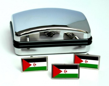 Sahrawi Flag Cufflink and Tie Pin Set