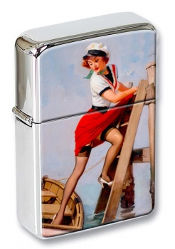 Sailor Beware Pin-up Girl Flip Top Lighter