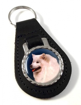 Samoyed Leather Key Fob