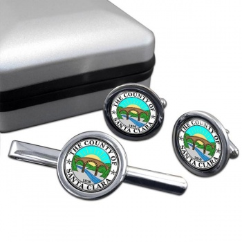 Santa Clara County CA  Round Cufflink and Tie Clip Set