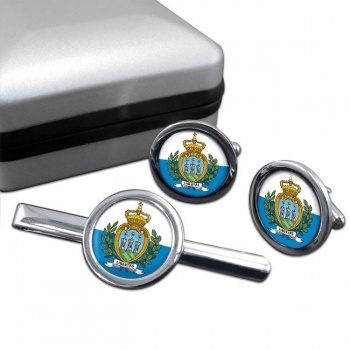 San Marino Round Cufflink and Tie Clip Set