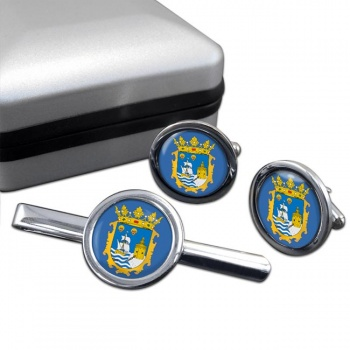 Santander (Spain) Round Cufflink and Tie Clip Set