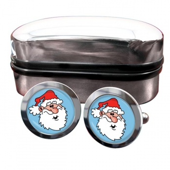 Father Christmas Santa Clause Round Cufflinks