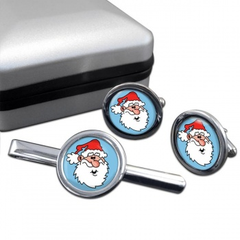 Father Christmas Santa Clause Round Cufflink and Tie Clip Sert