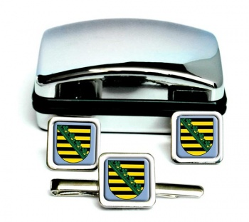 Sachsen Saxony (Germany) Square Cufflink and Tie Clip Set