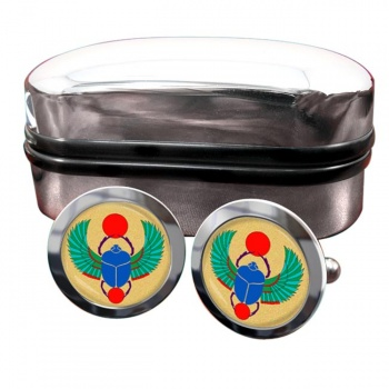 Egyptian Scarab Beetle Round Cufflinks