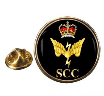 SCC Communications Round Pin Badge