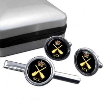 SCC Drill instructor Round Cufflink and Tie Clip Set