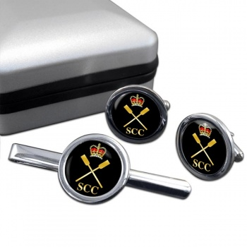 SCC Pulling Round Cufflink and Tie Clip Set