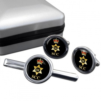 SCC Writer Round Cufflink and Tie Clip Set