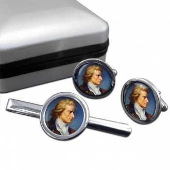 Friedrich Schiller Round Cufflink and Tie Clip Set