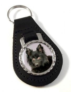 Schipperke Leather Key Fob