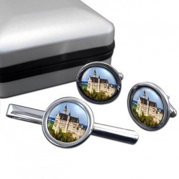 Schloss Neuschwanstein Round Cufflink and Tie Clip Set