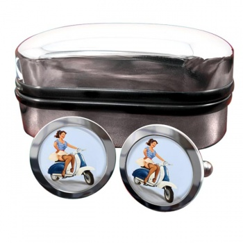 Pin-up Scooter Girl Round Cufflinks