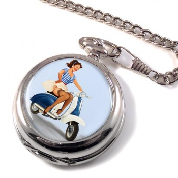 Pin-up Scooter Girl Pocket Watch