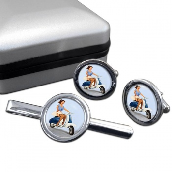 Pin-up Scooter Girl Round Cufflink and Clip Set