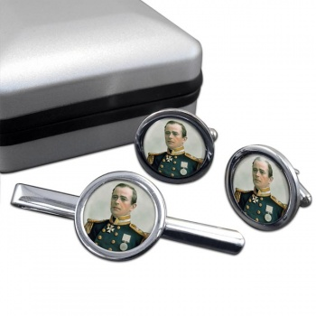 Robert Falcon Scott Round Cufflink and Tie Clip Set