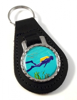 Scuba Diving Leather Key Fob