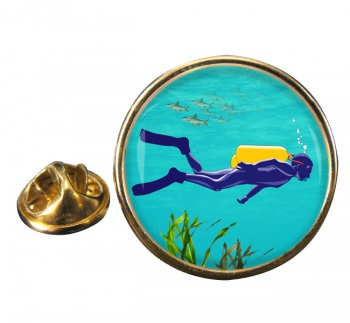 Scuba Diving Round Pin Badge