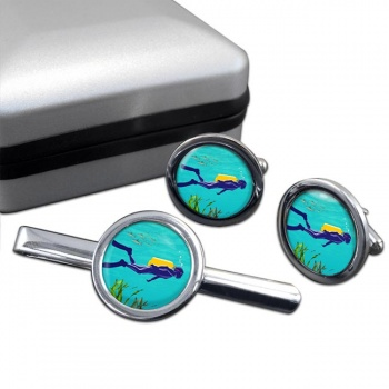 Scuba Diving Round Cufflink and Tie Clip Set