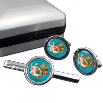 Scylla  Cufflink and Tie Clip Set
