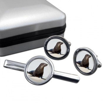 Sea Lion  Cufflink and Tie Clip Set