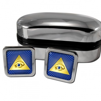 Eye of Providence (All Seeing Eye of God) Square Cufflinks