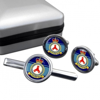 RAF Station Seletar Round Cufflink and Tie Clip Set