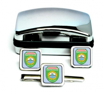 Sumatera Selatan (Indonesia) Square Cufflink and Tie Clip Set