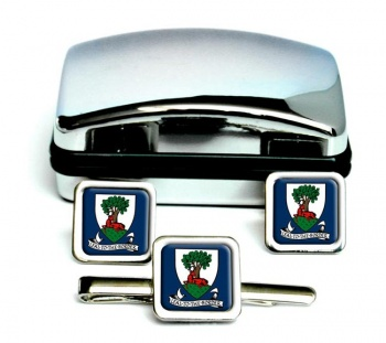 Selkirkshire (Scotland) Square Cufflink and Tie Clip Set