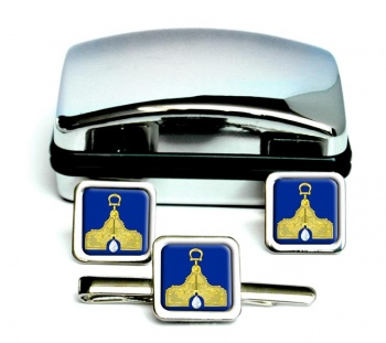 Masonic Lodge Senior Warden Square Cufflink and Tie Clip Set