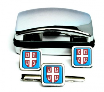 Serbian Cross--Square Cufflink and Tie Clip Set