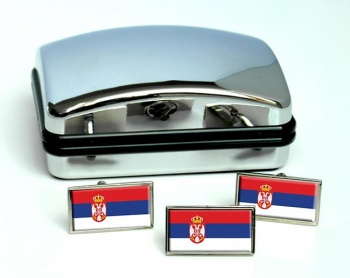 Serbia  Flag Cufflink and Tie Pin Set