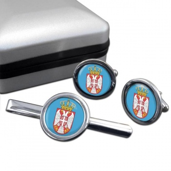 Coat of Arms   (Serbia) Round Cufflink and Tie Clip Set