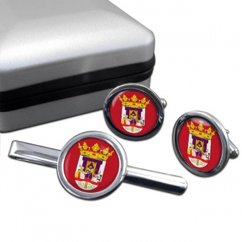 Seville Sevilla (Spain) Round Cufflink and Tie Clip Set