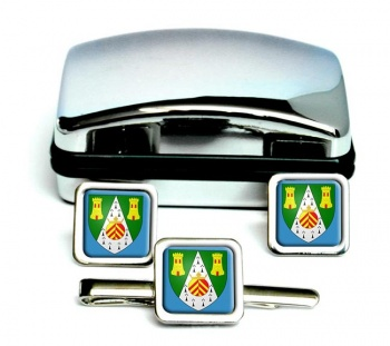 South Glamorgan-Square Cufflink and Tie Clip Set