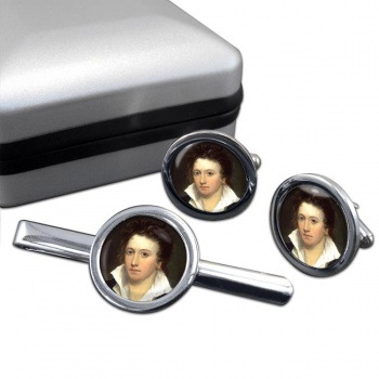 Percy Bysshe Shelley Round Cufflink and Tie Clip Set