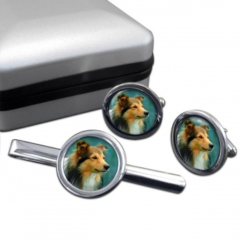 Shetland Sheepdog  Cufflink and Tie Clip Set