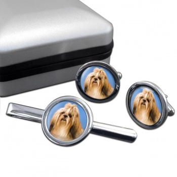 Shih Tzu  Cufflink and Tie Clip Set