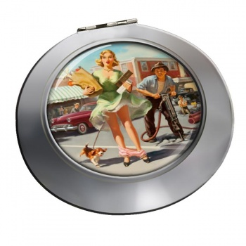 Shopper's Dilemna Pin-up Round Mirror