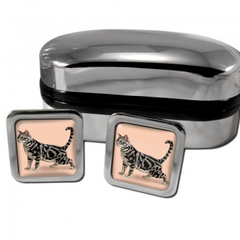 Shorthaired Cat  Square Cufflinks