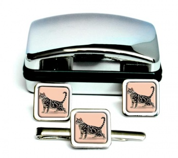 Shorthaired Cat  Square Cufflink and Tie Clip Set